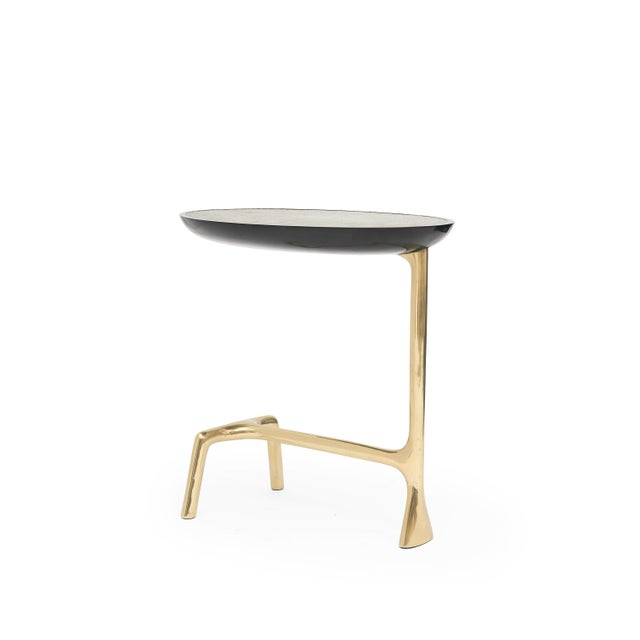 Black Uovo Side Table (Shagreen & Brass ) by Sylvan San Francisco For Sale - Image 8 of 8