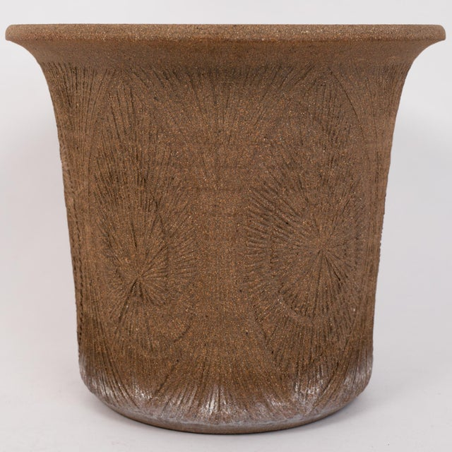 Brown Robert Maxwell Incised Studio Pottery Planter with Flared Lip For Sale - Image 8 of 12