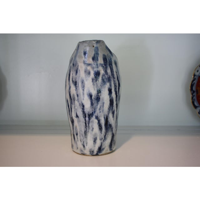 Ceramic Abstract Handmade Blue & White Stoneware Pitcher For Sale - Image 7 of 11