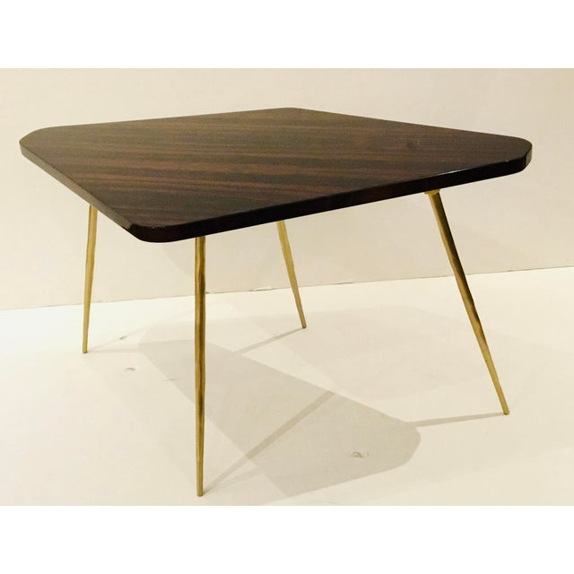 Caracole Caracole Signature Modern Macassar Ebony Lacquer and Textured Brass the Trilogy Side Table For Sale - Image 4 of 4