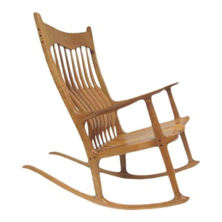 Sam Maloof Style Rocking Chair in White Oak For Sale