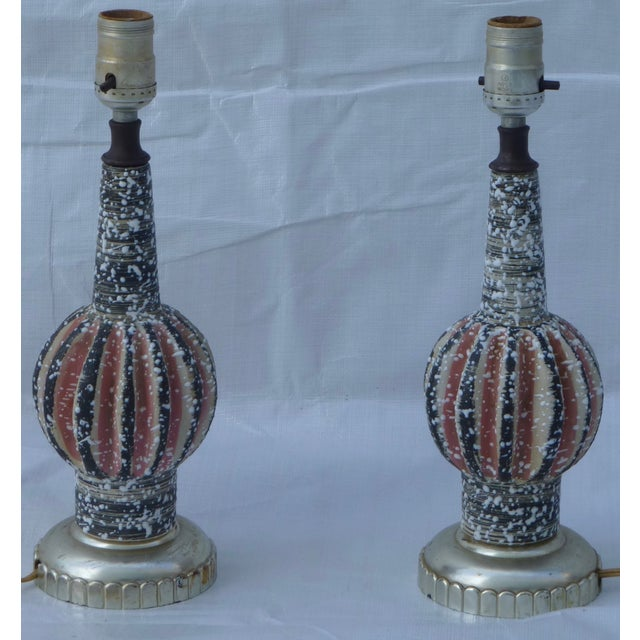 Atomic Pottery Table Lamps- A Pair - Image 9 of 10