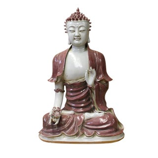 Vintage Chinese Red Glaze Porcelain Sitting Buddha with Lotus Statue For Sale