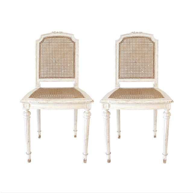 Louis XVI Style Cane Chairs With Carved Garland Detail - a Pair For Sale - Image 10 of 10