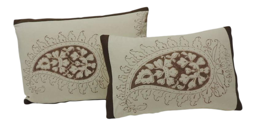 indian antique french cushions. Set Of Two Brown And Cream Indian Printed Cotton Paisley Decorative Pillows Antique French Cushions W