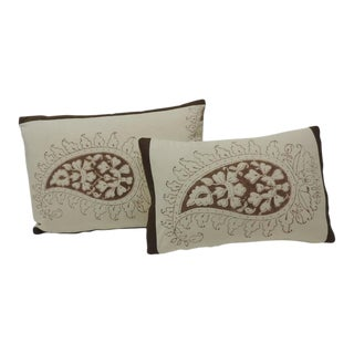 Set of Two Brown and Cream Indian Printed Cotton Paisley Decorative Pillows