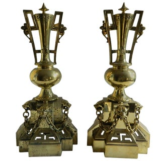 Pair of Polished Brass Chenets or Andirons, Panther Heads Motif, 19th Century For Sale