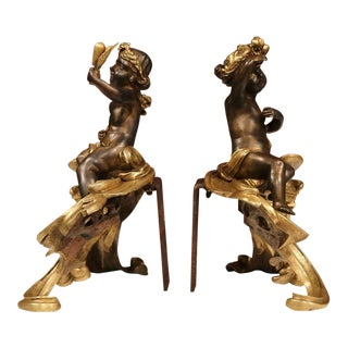 19th Century French Patinated Bronze Cherub Chenets - A Pair For Sale