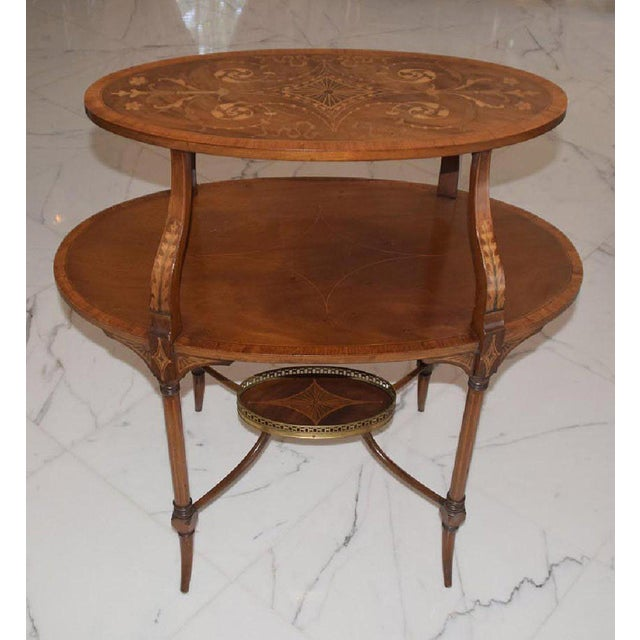 1900 - 1909 Antique English Mahogany Inlaid Three-Tiered Serving Table - Bottom Tier For Sale - Image 5 of 5