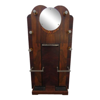 Deco Rosewood Inlay Narrow Hall Tree Coat Hat Umbrella Stand With Mirror 2193 For Sale