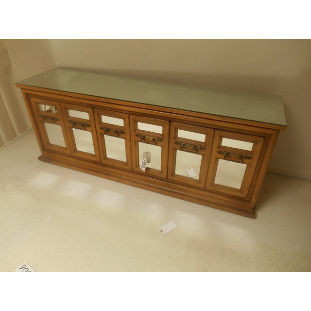 Hollywood Regency Mid-Century Modern Walnut & Mirror Credenza For Sale - Image 3 of 7