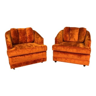 Orange Velvet Mid-Century Modern Lounge Chair ~ a Pair For Sale