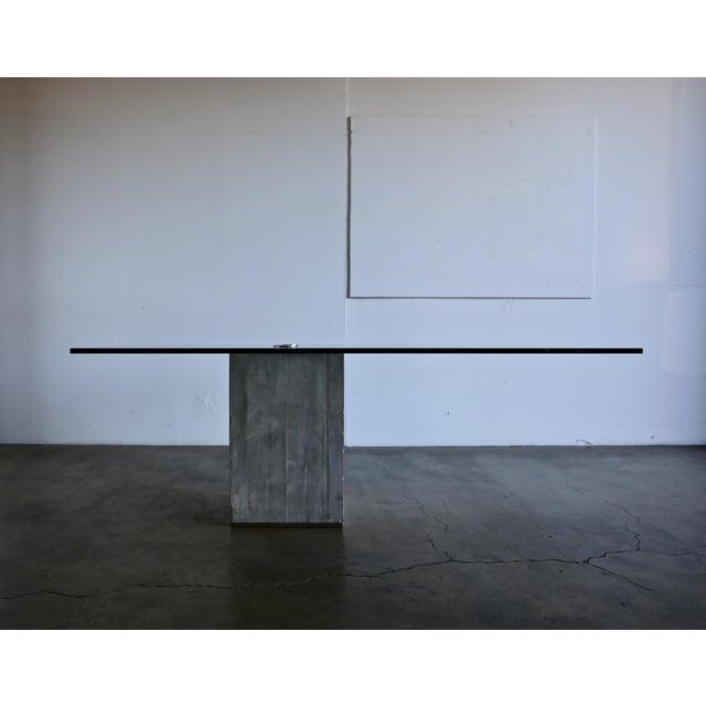 Sergio & Giorgio Saporiti Concrete and Glass Modern Dining Table, circa 1970.