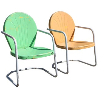 vintage 1950s tangerine and lime green retro rockers outdoor chairs a pair - Patio Rocking Chairs