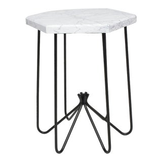 French Modern Sculptural Metal & Marble Hexagonal Side Table After Jean Royere For Sale