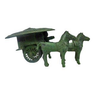Reproduction Ancient Chinese Green Bronze-ware Warrior Horse Wagon Display vs994C For Sale