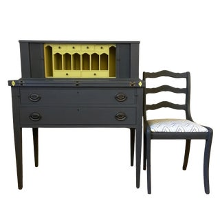 Hollywood Regency Black and Yellow Writing Desk With Chair - 2 Pieces For Sale