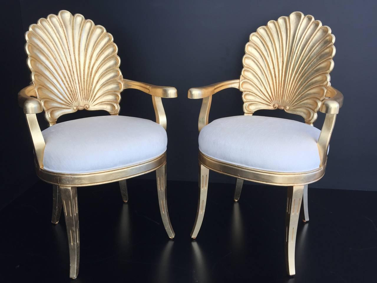 Venetian Grotto Style Gold Leafed Shell Back Armchairs. Total Four  Available. Priced Individually.