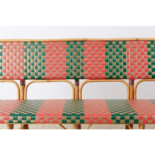 Late 20th Century French Maison Gatti Rattan Bamboo Banquette Bench For Sale - Image 5 of 13