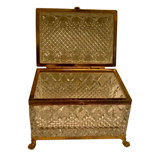 French Mid-Century French Large Crystal Box For Sale - Image 3 of 10