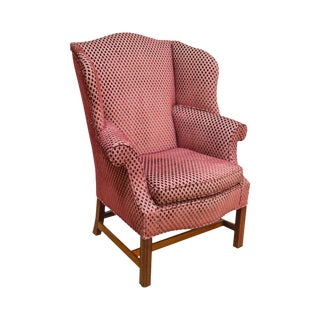 Chippendale Style Large Custom Wing Chair For Sale