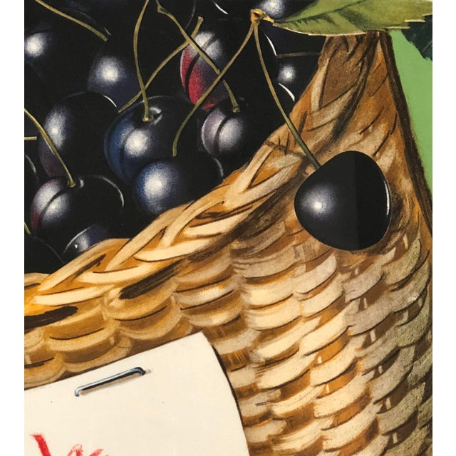 1950s Vintage Swiss Advertising Lithograph of Cherries For Sale - Image 5 of 10