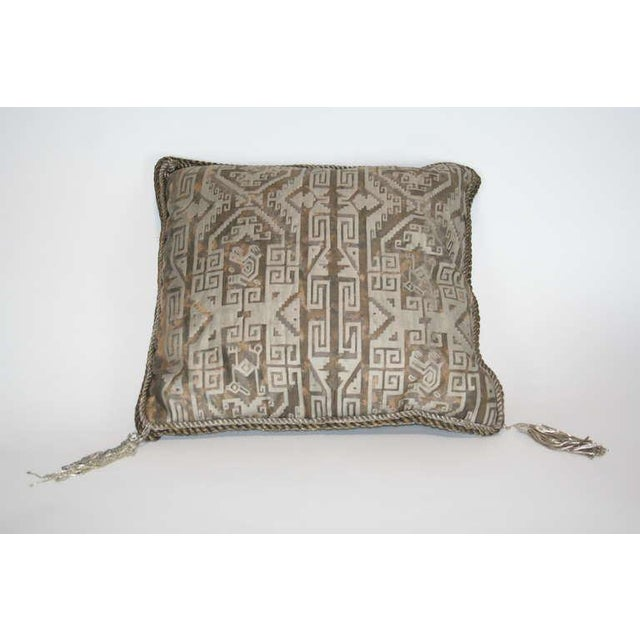 Vintage Fortuny Cuzco Pillow in black, tan, and silvery gold.