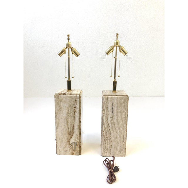 Italian Travertine and Brass Table Lamps - a Pair For Sale In Palm Springs - Image 6 of 10