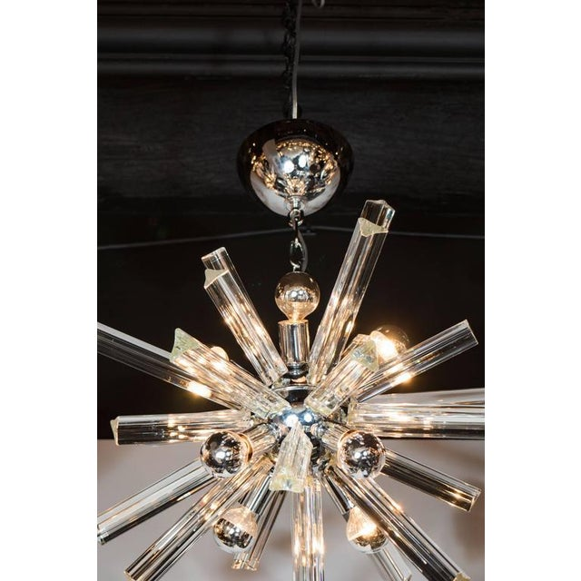 Camer Glass Mid-Century Modern Sputnik Chrome Chandelier with Murano Triedre Rods by Camer For Sale - Image 4 of 8