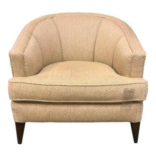 Caracole Barrel Back Herringbone Pattern Chair For Sale