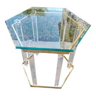 A Pair Vintage Lucite and Brass Charles Hollis Jones Style Octagonal Side End Tables For Sale