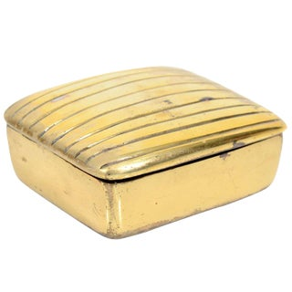 Ben Seibel Brass Ribbed Box for Jenfredware For Sale
