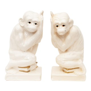 1950s Japanese Porcelain Monkey Bookends - a Pair For Sale