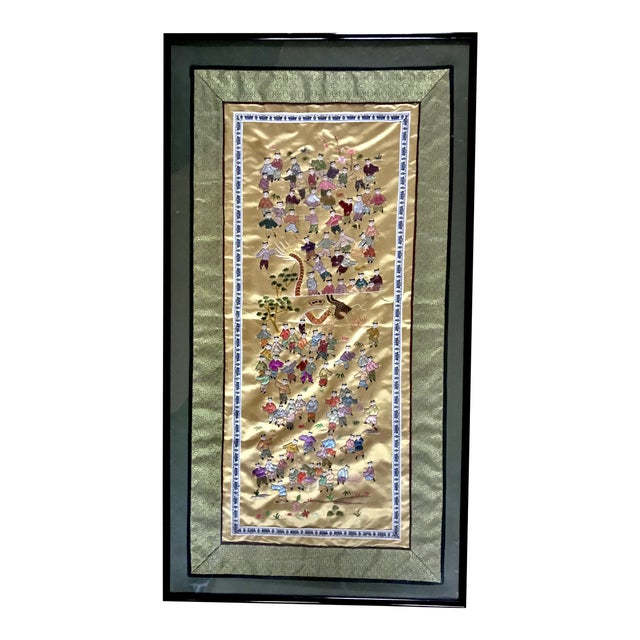 Mid-Century Chinese Silk Embroidered Tapestry For Sale