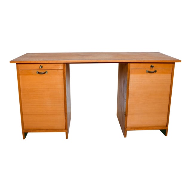 Vintage Adolf Maier/Meyer Möbelfabrik Bauhaus Blond Desk Tambour Doors, Germany For Sale