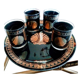 Set of Georges Briard Vintage Art Deco 4 Black Gold Seashell Cocktail Glasses and Matching Tray For Sale
