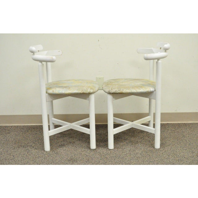 Set 4 Vintage Gangso Mobler Mid Century Danish Modern White Dining Room Chairs - Image 5 of 11