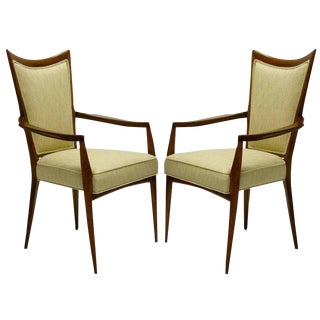 Stunning Pair of Sculptural Italian Mahogany Silk Armchairs by Melchiorre Bega