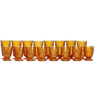Mid Century Amber Glasses, Set of 16