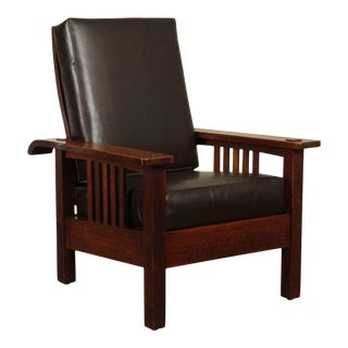 Stickley Brothers Antique Mission Oak Morris Chair For Sale
