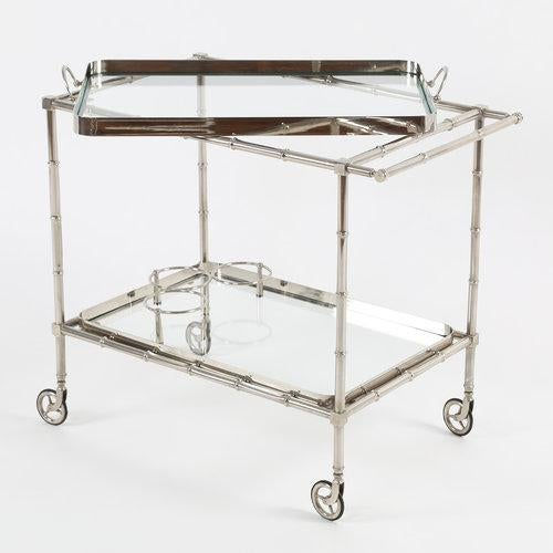 1960S SWEDISH POLISHED-NICKEL, FAUX-BAMBOO BAR CART ON CASTERS For Sale - Image 10 of 10