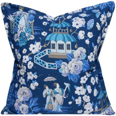 2010s Blue & White Chinoiserie Pillow Cover For Sale - Image 5 of 5