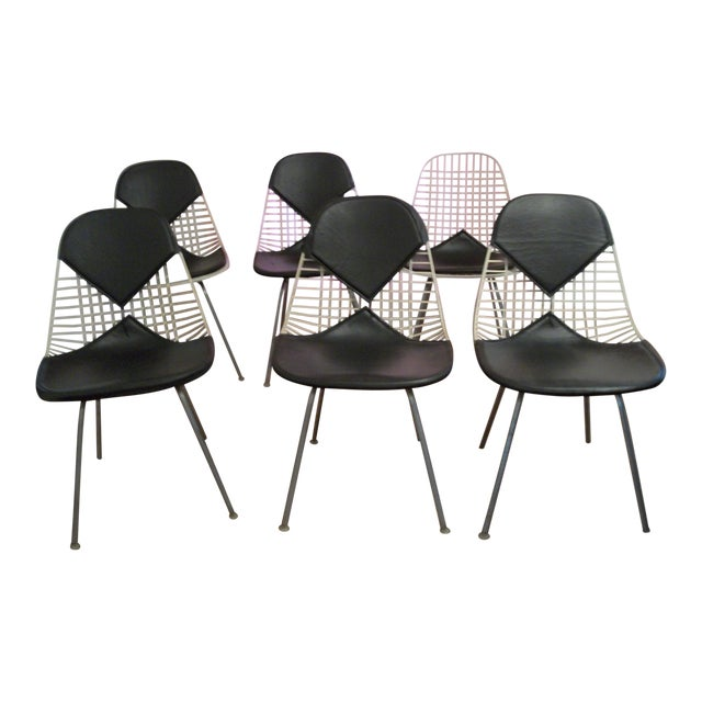 Mid-Century Modern Eames for Herman Miller Bikini Wire Chairs - Set of 6 For Sale