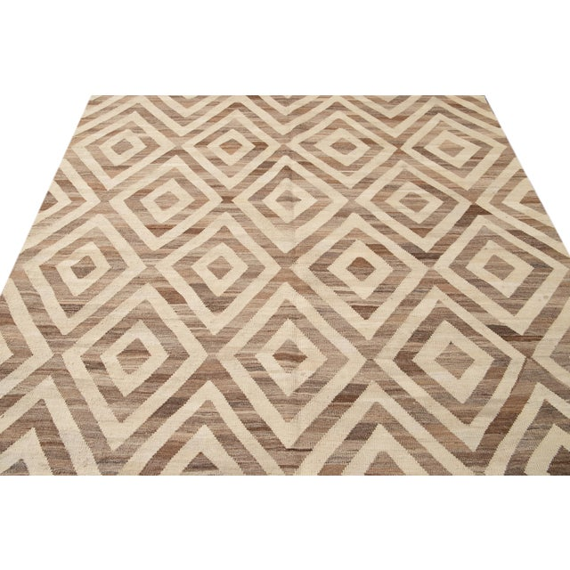 Textile 21st Century Modern Kilim Wool Rug For Sale - Image 7 of 12