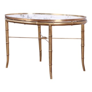 Mastercraft Hollywood Regency Faux Bamboo Brass Cocktail Table For Sale