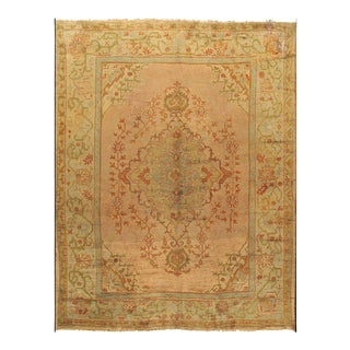 Antique Turkish Soft Peachy-Red Oushak Rug, 10' X 12'6 For Sale