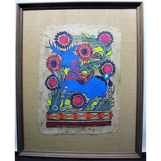 This is a beautiful amate (bark) painting in vibrant and even neon hues. These pieces bring a natural and eclectic element...