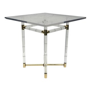 Polished Brass and Faux Bamboo Center Table by Charles Hollis Jones For Sale