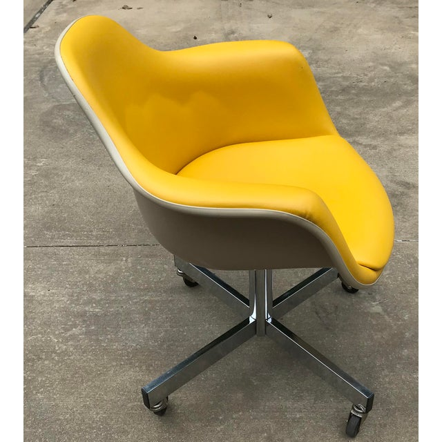 Mid 20th Century Vintage Mid Century Yellow Eames Style Shell Rolling Desk Chair For Sale - Image 5 of 13
