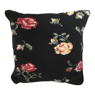 """18"""" Black Floral Hand Knit Decorative Pillow"""